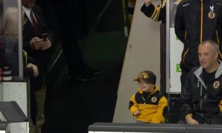 Bruins Players Fist Bump Young Leukemia Survivor
