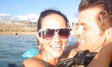 Scuba diving soldier surprises family