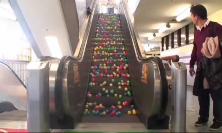 Men dump out balls on escalator