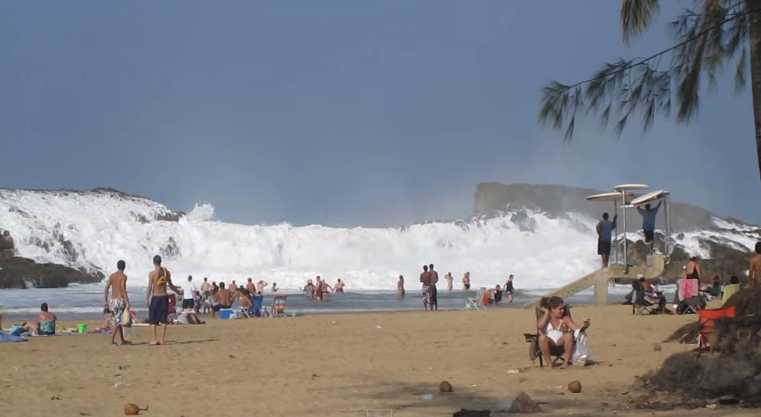 Massive Wave Crashes into Beach in Puerto Rico
