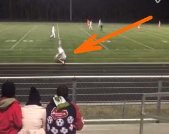 Soccer Player's Somersault Goal.