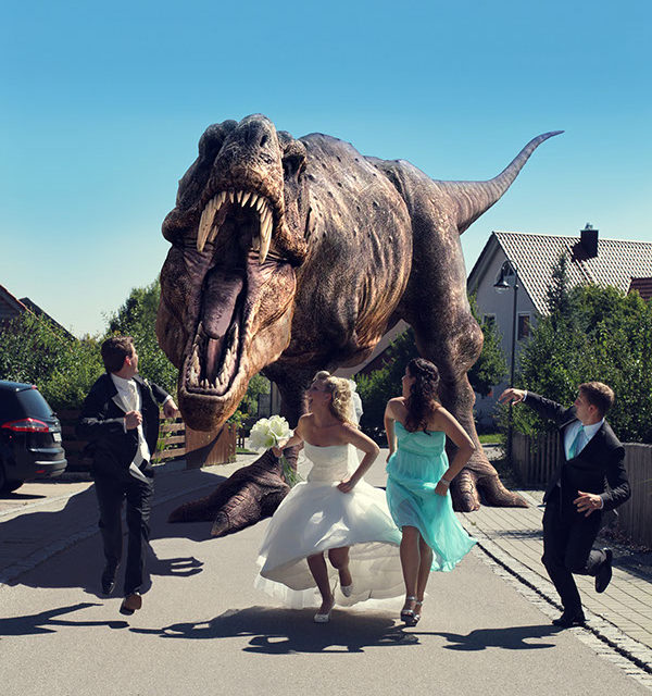 Dinosaur Wedding Photos Taken At Jurassic Park