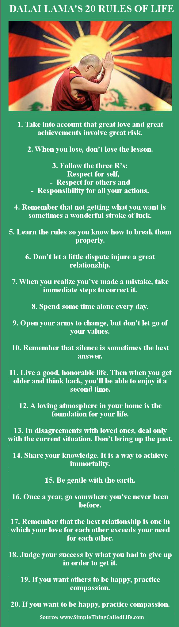Great Quotes About Life 20 Rules From The Dalai Lama On Living A Good Life Image
