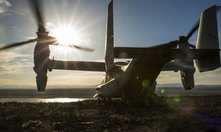 In Search of Prey: Marine's Osprey Helicopter Perched on a Mountain