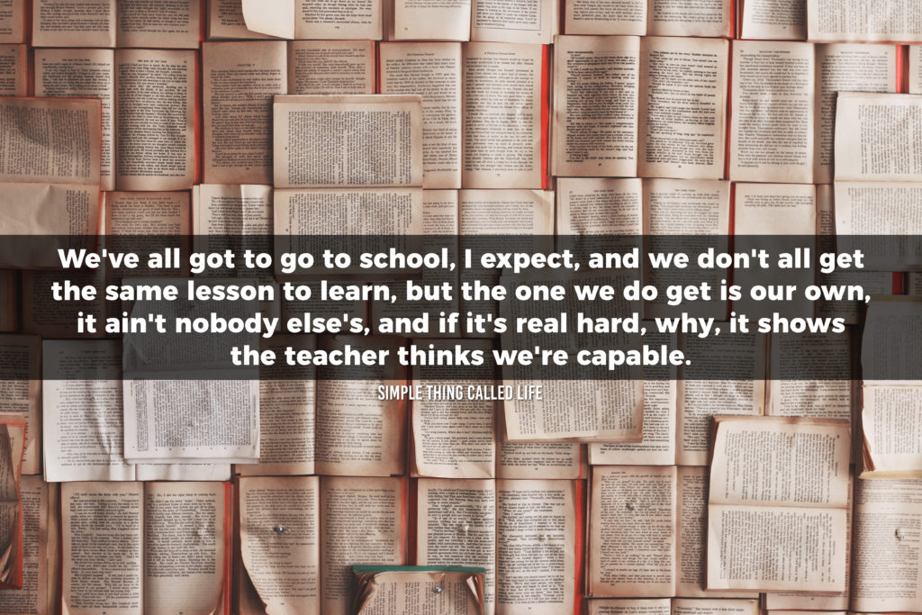 "A picture of open books, with a quote overlayed that says ""We've all got to go to school, I expect, and we don't all get the same lesson to learn, but the one we do get is our own, it ain't nobody else's, and if it's real hard, why, it shows the teacher thinks we're capable."""