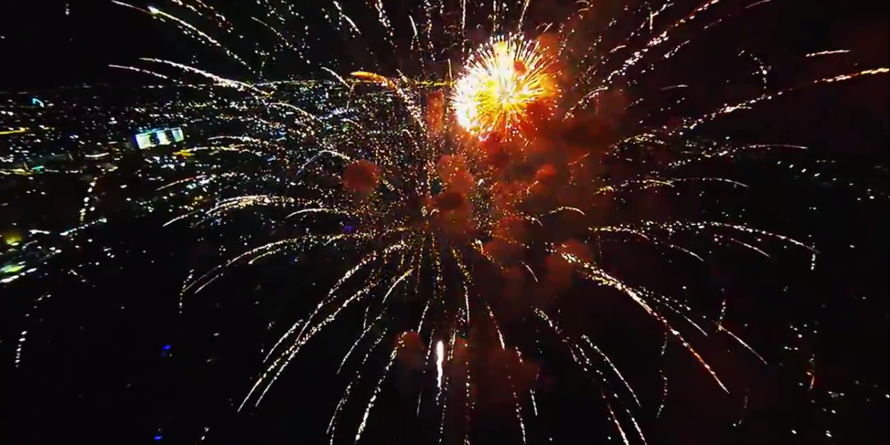 Drone Flies Through Fireworks With Amazing Results.