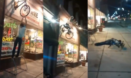 Drunk Guy Rides Bike Sign. Doesn't End Well.