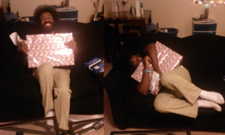 This Man Really Loves His Surprise Present.