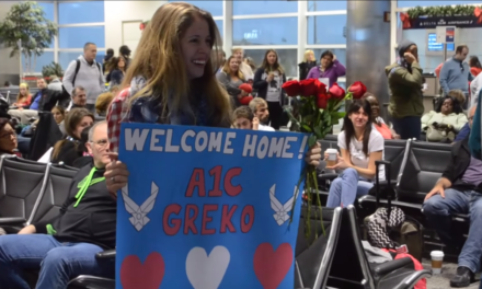 Airman Surprises Fiancee at Airport.
