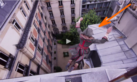 Assassin Jumps from Building in Parkour Chase.