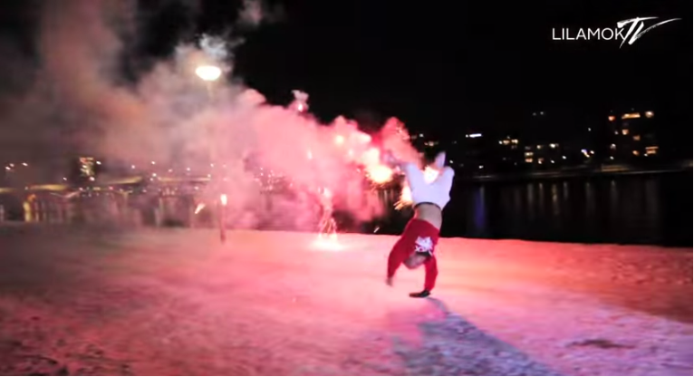 Breakdancing With Fireworks. Amazing Video.