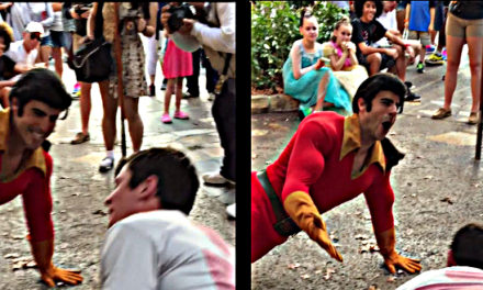 Gaston is Challenged by a Disney Guest.