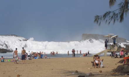 Massive Wave Crashes into Beach in Puerto Rico