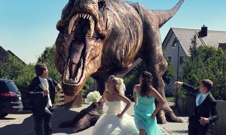 Dinosaur Wedding Photos Taken at Jurassic Park