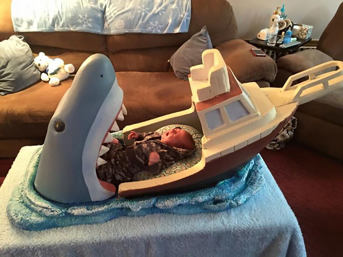 Jaws Themed Bed Makes Baby Cry.