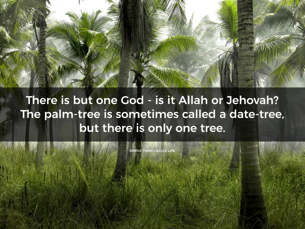 """""""There is but one God – is it Allah or Jehovah? The palm-tree is sometimes called a date-tree, but there is only one tree."""" – Benjamin Disraeli"""